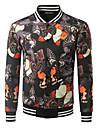 Bărbați Stand Jachetă Casul/Zilnic Șic Stradă,Imprimeu Manșon Lung toamnă Iarnă-Regular Bumbac
