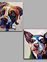 100%  Hand-Painted Abstract / Animal Dogs Hang-Painted Oil PaintingModern / Classic One Panel Canvas Oil Painting For Home Decoration