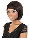 Capless kvinnor bobo kort lockigt naturligt svart syntetiska peruker sida bang med gratis hårnät