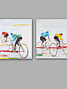 Peint a la main Abstrait / Personnage Peintures a l\'huile,Modern / Realisme Deux Panneaux Toile Peinture a l\'huile Hang-peint For