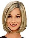 Capless kort bobo rakt hela sidan bang syntetiska peruker för kvinnor blanda gyllene beige värmetålig med gratis hårnät