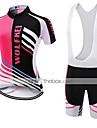 Sportif Maillot et Cuissard a Bretelles de Cyclisme Femme Manches courtes VeloRespirable / Sechage rapide / Resistant a la poussiere /