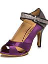 Chaussures de danse(Marron / Violet) -Personnalisables-Talon Bottier-Cuir-Latine / Jazz / Baskets de Danse / Moderne
