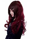 Perruques de lolita Gothique Lolita Long Boucle Rouge Marron Perruque Lolita  60 CM Perruques de Cosplay Couleur Pleine Perruque Pour