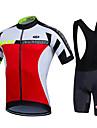 Sportif Maillot et Cuissard a Bretelles de Cyclisme Homme Manches courtes VeloRespirable Sechage rapide Permeabilite a l\'humidite