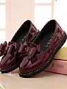 Fete Pantofi Flați Confortabili Piele Originală Toamnă Casual Confortabili Funde Toc Plat Negru Rosu Vișiniu Plat