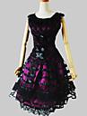 Outfits Klassisk/Traditionell Lolita Rokoko Cosplay Lolita Klänning Purpur Spets Ärmlös Knälång Topp Kjol För Dam Charmeuse
