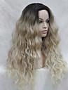 resistant blonde ombre synthetique de chaleur de haute qualite avec la racine noire ondulee avant de dentelle longue perruque