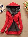 Manteau Femme,Couleur Pleine Manches Longues Rouge Noir Marron Gris Polyester Epais Automne Hiver