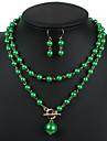 Pentru femei Seturi de bijuterii Cercei Picătură Coliere cu Pandativ La modă Ajustabile European Lung Elegant Perle Bijuterii1 Colier 1