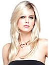 cheveux naturels perruques synthetiques blonds de chaleur de longueur moyenne resistant avec Bang style europeen pour la femme