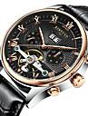 KINYUED Bărbați Ceas Elegant Ceas Schelet Ceas de Mână ceas mecanic Mecanism automat Calendar Cronograf Rezistent la Apă Piele BandăLuxos