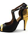 Chaussures de danse(Rouge Or) -Personnalisables-Talon Aiguille-Similicuir-Latines
