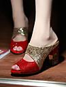 Damă Sandale Pantofi Club Luciu Primăvară Vară Toamnă Casual Rochie Party & Seară Paiete Toc Gros Negru Rosu 7.5 - 9.5 cm