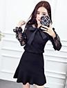 semn 2017 primăvară nouă dantelă arc bluză fusta costum Fishtail + Nett