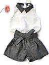 Fetei Seturi Bloc Culoare Linen Sporturi Ieșire Casul/Zilnic Vară Fără Manșon Set Îmbrăcăminte