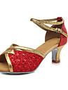 Chaussures de danse(Rouge Argent Or Or noir) -Personnalisables-Talon Cubain-Similicuir Cuir Verni Paillette Brillante-Latines