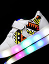 Băieți Adidași Primii Pași Pantofi Usori Imitație de Piele Primăvară Vară De Atletism Casual Plimbare LED Toc Jos Alb Negru Roz Sub 2.5 cm