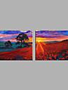 Peint a la main Paysage Horizontale,Moderne Style europeen Deux Panneaux Toile Peinture a l\'huile Hang-peint For Decoration d\'interieur