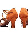 Chaussures de danse(Marron Autre) -Personnalisables-Talon Personnalise-Satin-Latine Salon