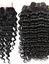 Tissages de cheveux humains Cheveux Bresiliens Ondulation profonde 6 Mois 5 Pieces tissages de cheveux