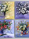 Pictat manual Floral/Botanic Orizontal,Modern Patru Panouri Canava Hang-pictate pictură în ulei For Pagina de decorare