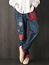 Damă Zvelt Vintage Simplu Talie Medie,Micro-elastic Blugi Pantaloni Imprimeu