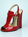 Unisexe-Habille Soiree & Evenement-Noir Rouge-Talon Compense-club de Chaussures-Sandales-Polyurethane