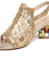Damă Sandale Vară Pantof cu Berete PU Casual Toc Gros Auriu Negru Argintiu