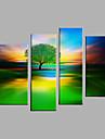 Peint a la main Paysage A fleurs/Botanique Verticale,Moderne Style europeen Quatre Panneaux Toile Peinture a l\'huile Hang-peint For
