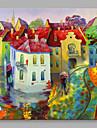 Pictat manual Peisaje Abstracte Pătrat,Modern Stil European Un Panou Canava Hang-pictate pictură în ulei For Pagina de decorare