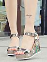Damă Sandale Primăvară Vară Confortabili Pantofi Club Imitație de Piele Rochie Casual Toc Pană Cataramă