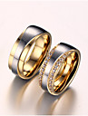 Inele Cuplu Zirconiu Cubic imitație de diamant Iubire de Mireasă Zirconiu Oțel titan Placat Auriu Iubire Auriu Bijuterii PentruNuntă Zi