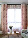 Două Panouri Tratamentul fereastră Țara , Floare Dormitor Poliester Material perdele, draperii Pagina de decorare For Fereastră