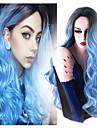 nouvelle longue mode bleu turquoise noir au bleu chaleur perruque synthetique cheveux hombre vague de corps d\'aspect naturel de la
