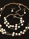 Pentru femei Toroane Coliere Ștras Perle Aliaj Design Basic Auriu Argintiu Bijuterii Pentru Nuntă Petrecere Logodnă Zilnic 1set