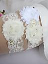 Jartieră Dantelă Floare Panglici Imitație de Perle Pană Panglică Sweetheart Alb