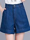 Damă Picior Larg Simplu Talie Inaltă Blugi Pantaloni Scurți Pantaloni Plisată Solid