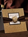 Împăturit în partea de sus Invitatii de nunta 50-Invitații Stil modern Hârtie Perlă Fundă panglică