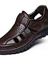 Bărbați Sandale Confortabili Nappa Leather Primăvară Casual Negru Maro Plat