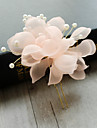 Tul Imitație de Perle Net Diadema-Nuntă Ocazie specială Zi de Naștere Party/Seara Flori Clipuri de Păr 1 Bucată