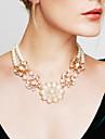 Pentru femei Colier de putere Coliere Perle Flower Shape Perle Vintage La modă Bijuterii Statement Auriu Cristal Bijuterii PentruNuntă