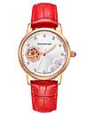 Pentru femei Ceas Schelet Ceas La Modă ceas mecanic Mecanism automat Rezistent la Apă Iluminat Piele Autentică BandăNegru Alb Roșu Maro