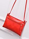 Femei umăr sac pu polyester toate anotimpurile casual în aer liber roșu fermoar roșu alb negru