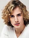 Homme Perruque Synthetique Sans bonnet Court Mi Longue Frises Medium Marron / Blond Fraise Cheveux Colores Perruque afro-americaine