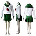 Inspirovaný InuYasha Kikyo Anime Cosplay kostýmy Cosplay šaty / Školní uniformy Patchwork Biały / Zielony Dlouhé rukávyVrchní deska /