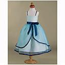 Lanting nevjesta ® loptu haljina čaj duljine cvijet girl haljina - Organza / saten rukava špageti trake s lukom (i)