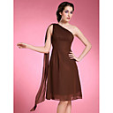 A-line Plus Sizes Mother of the Bride Dress - Brown Knee-length/Watteau Train Sleeveless Chiffon
