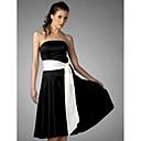 Lanting Bride® 膝丈 サテン ブライドメイドドレス - Aライン / プリンセス ストラップレス プラスサイズ / ペティート とともに サッシュ/リボン