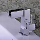 Suvremeni Središnje pozicionirane Waterfall with  Keramičke ventila Jedan Ručka jedna rupa for  Chrome , Kupaonica Sudoper pipa